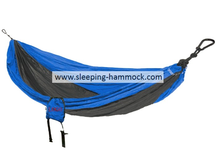 Lightweight Foldable Cool Parachute Nylon Travel Hammock  2 Person 210T Blue Charcoal