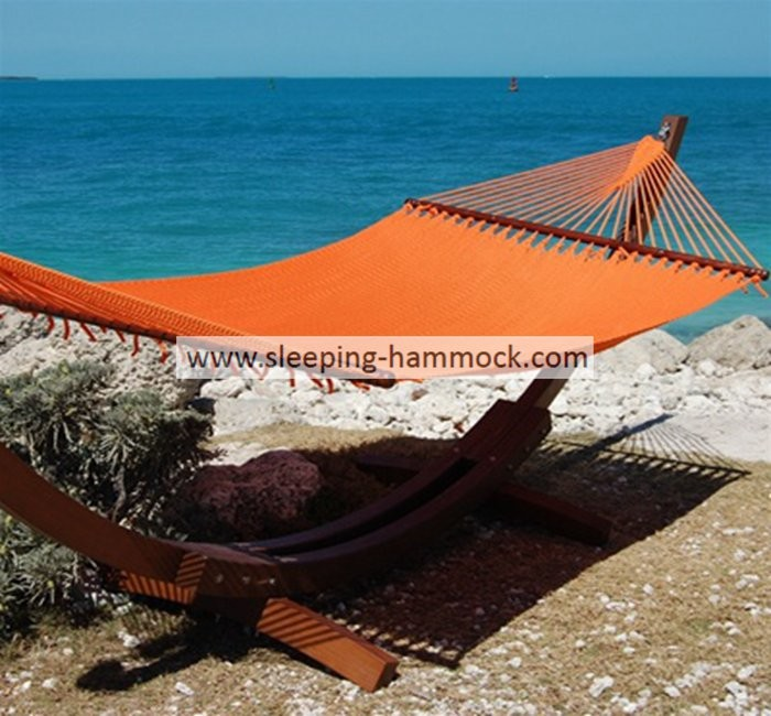 Modern  Solution Dyed 2 Person Caribbean Style Hammock With Stand Orange 55 X 84 Inches